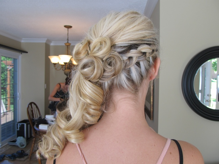 side braid with curls pinned up | Prom! | Pinterest