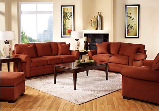 burnt orange living room set