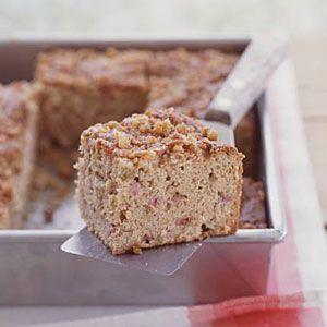 Rhubarb-Sour Cream Snack Cake with Walnut Streusel   Recipe