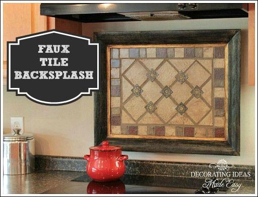 faux tile backsplash