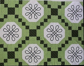 Irish chain quilt with celtic knots made from fusible bias tape!