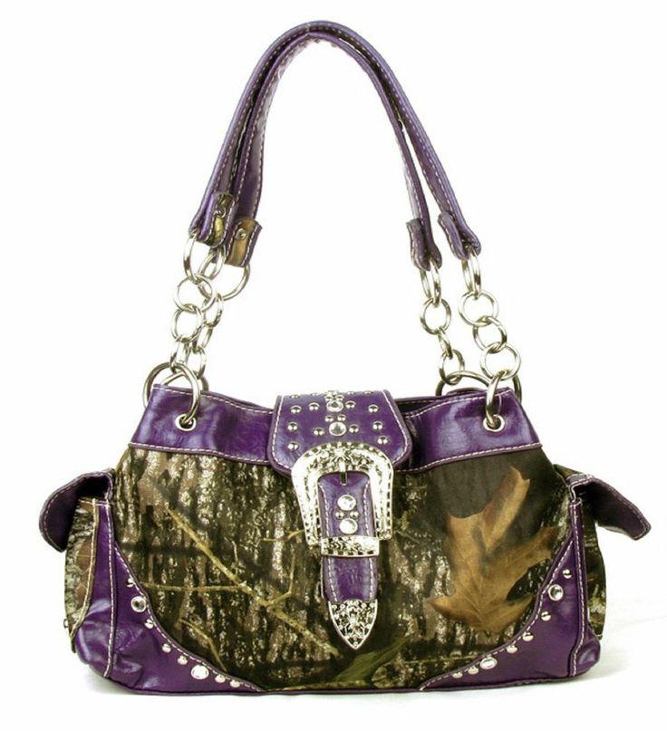 Western Purple Camouflage Buckle Rhinestone Purse