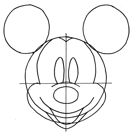 Mickey mouse drawing step by step