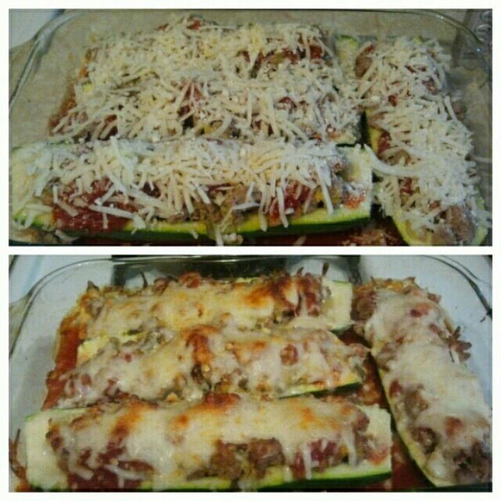 Turkey stuffed zucchini boats | foooooood | Pinterest