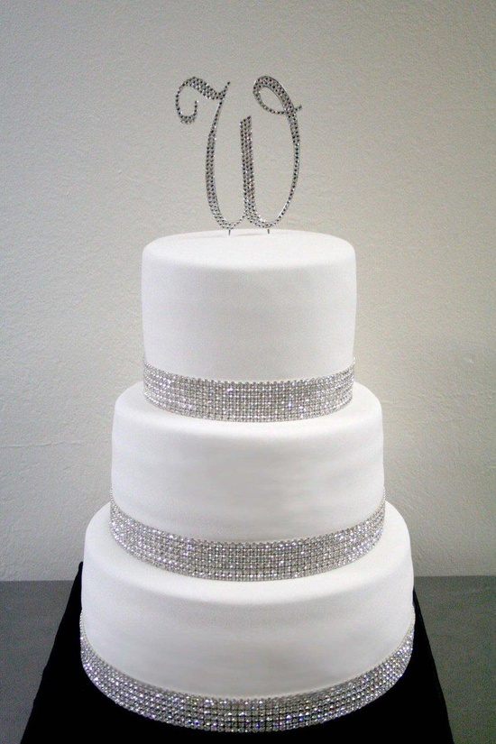 White Wedding Cakes with Bling
