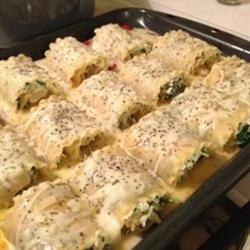 White Cheese Chicken Lasagna roll ups!!