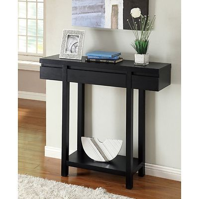 Black sofa wood console entry table furniture for 12 inch high table