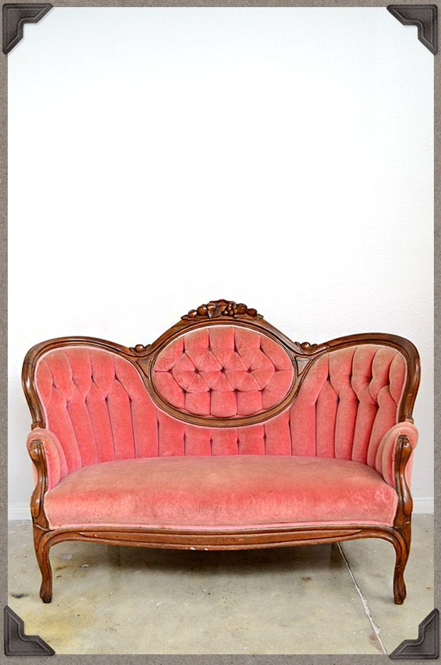 Vintage Settee Antique Pink Velvet Sofa Velvet Velvet