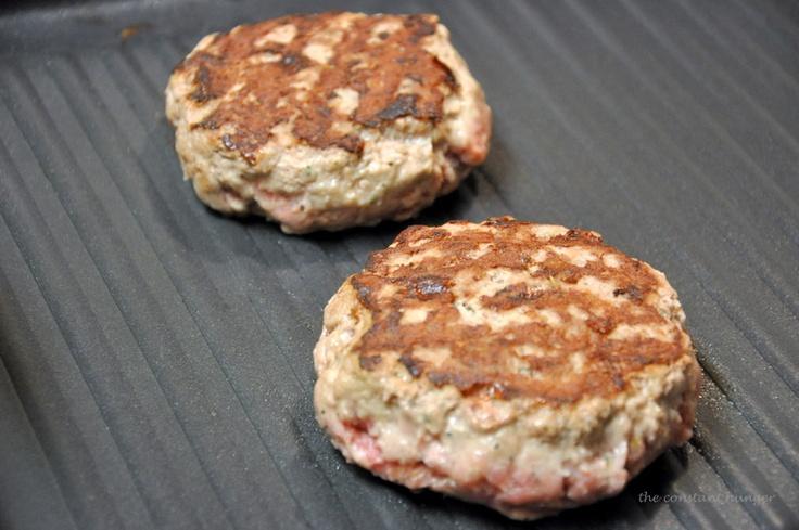 My new recipe: Yummy Turkey Burgers - 1lb ground turkey, 1/3cup bread ...