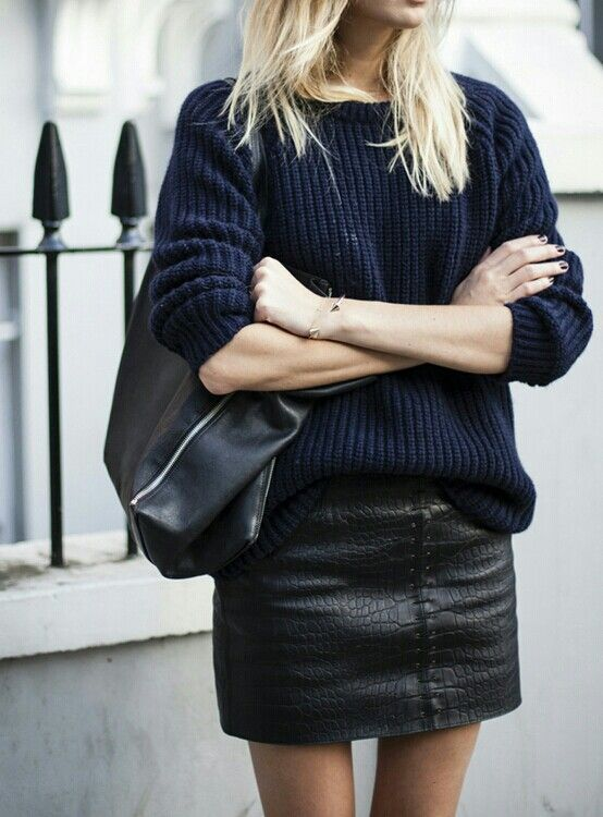 navy sweater and leather skirt fashion