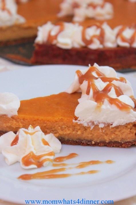 Pumpkin Pie Cheesecake on http://momwhats4dinner.com/pumpkin-pie ...