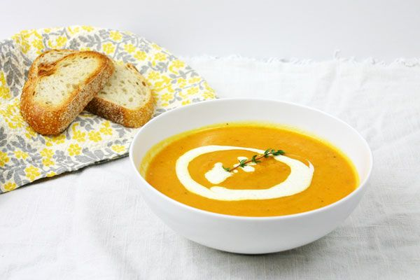 Roasted Carrot & Parsnip Soup with Lemon Ginger Cream - omit garlic ...