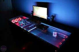 Computer pc desk mod modification setup gaming computer rig inside a