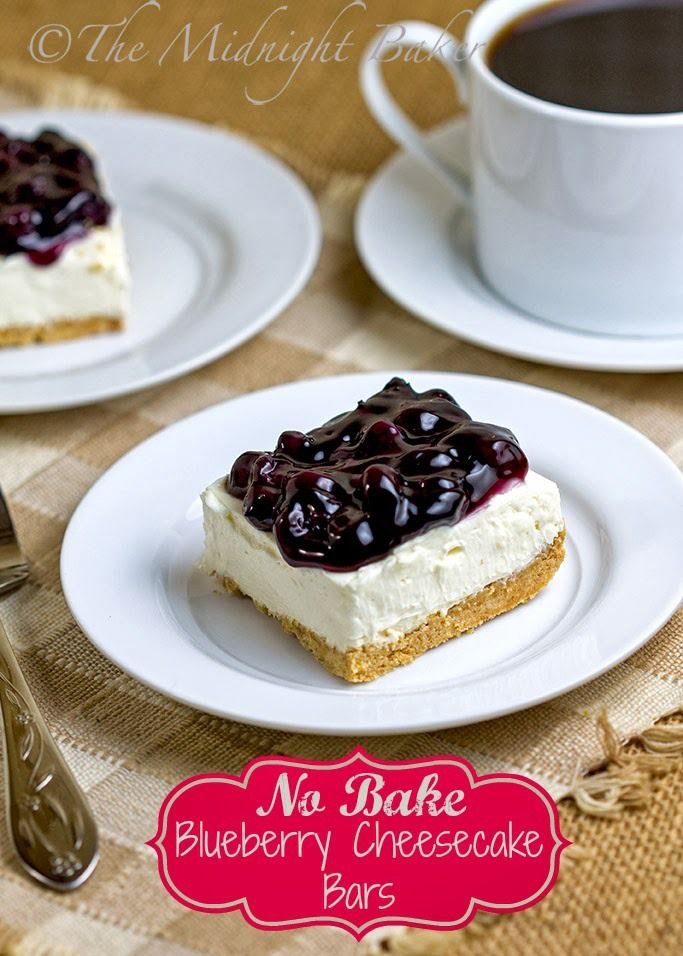 No-Bake Blueberry Cheesecake Bars @ The Midnight Baker