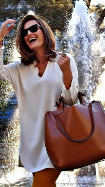 Leather brown bag and white top shirt