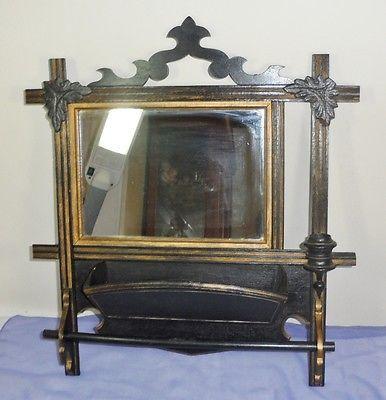 antique victorian ebony tramp art towel bar hanging vanity