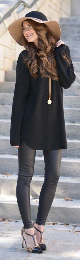 "Trouv black sweater, leather leggings, Ivanka Trump leopard pumps, MAC lipstick in ""syrup"""