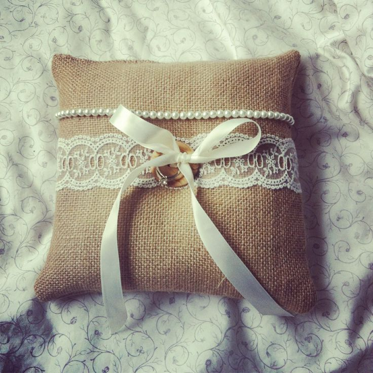 Handmade Shabby Chic Pillows : Shabby chic DIY ring bearer pillow.