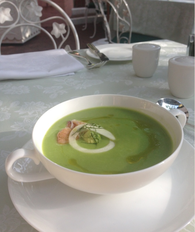 ... Chilled English Pea Soup, Dungeness Crab, Avocado, Hearts of Palm