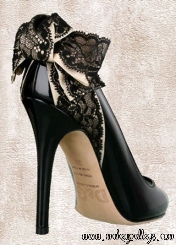 Black lace heels with bow - photo#22