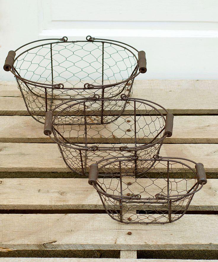 chicken wire basket set. Black Bedroom Furniture Sets. Home Design Ideas