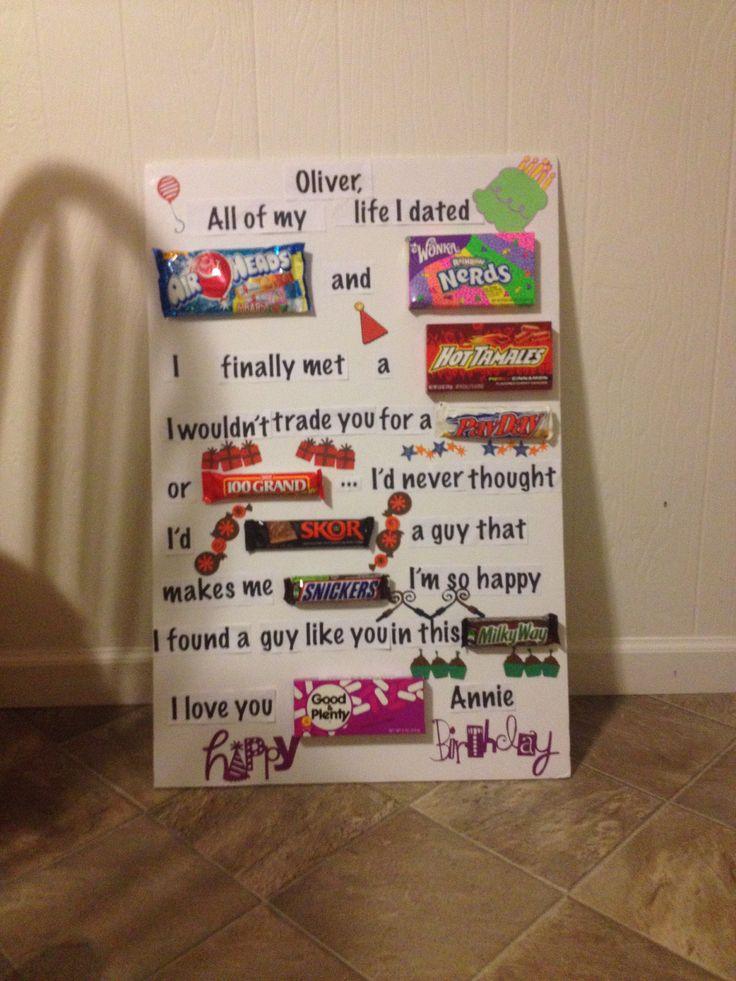 Candy card for boyfriends birthday  Birthday ideas  Pinterest