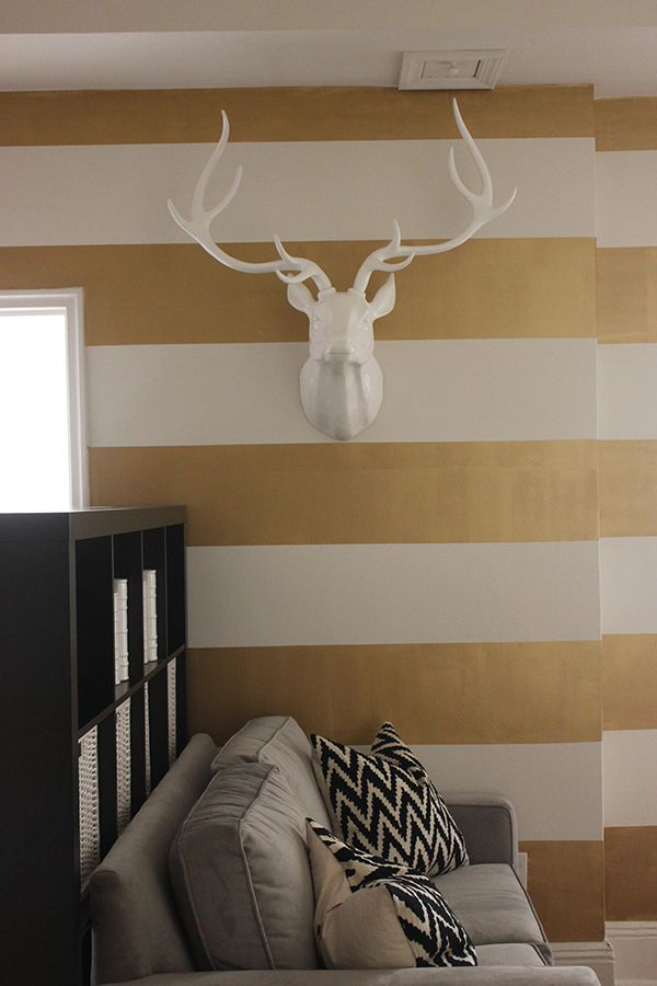 striped wall antlers design at home pinterest