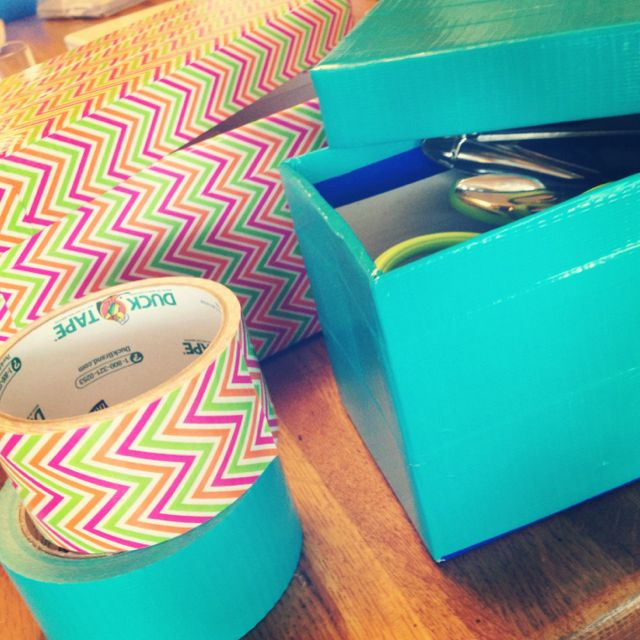 Use duck tape on old shoeboxes for colorful craft storage boxes!