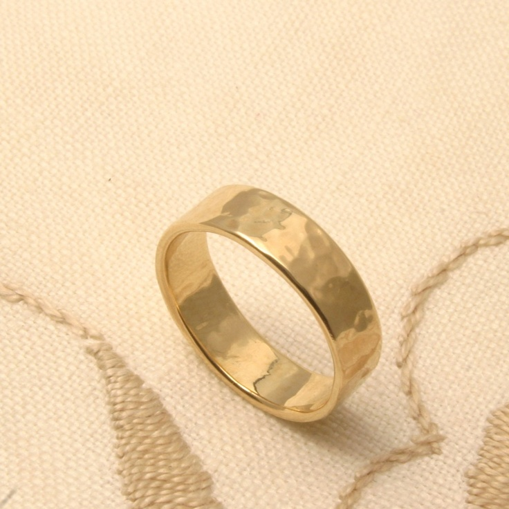 Puddled Gold band, wedding ring for the bride, made in Maine