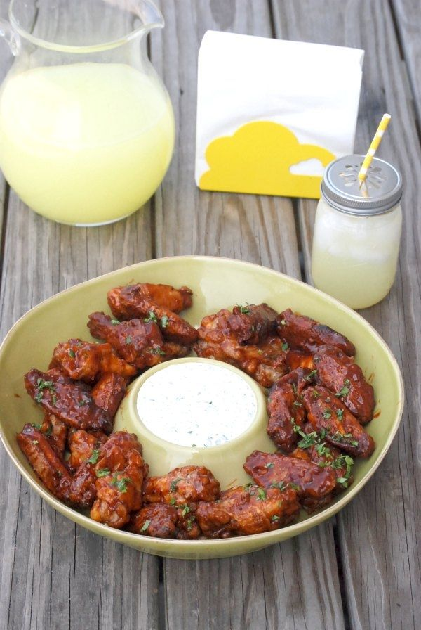 BBQ'd Bacon Chipotle Wings with Cilantro Ranch Dipping Sauce For the ...
