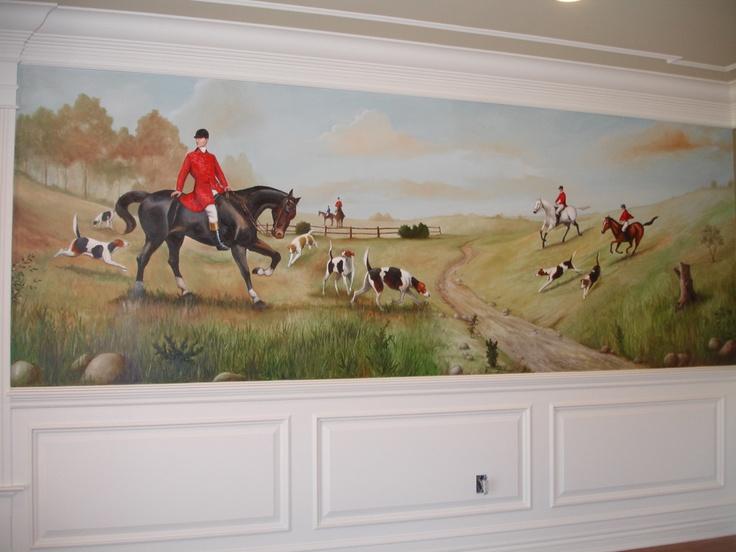 victorian era hunting mural on wall art murials