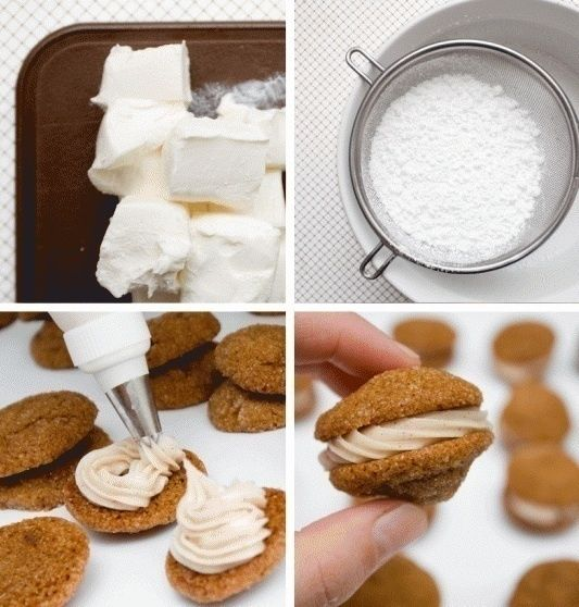 Mini Ginger Cookie Sandwiches with Cinnamon Cream Cheese Filling photo