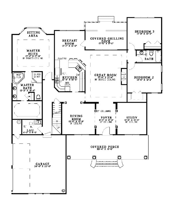 Country Southern House Plan 62088