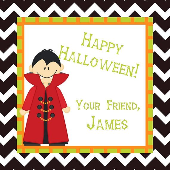 Halloween Gift Tag - DIY Personalized Halloween Card or Tag - Custom ...