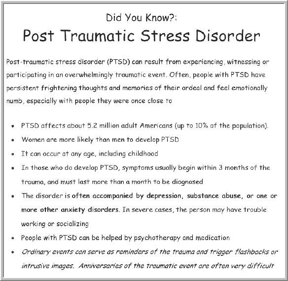 the causes and effects of the post traumatic stress disorder These symptoms may cause a person to change his or her personal teach about trauma and its effects • post-traumatic stress disorder.