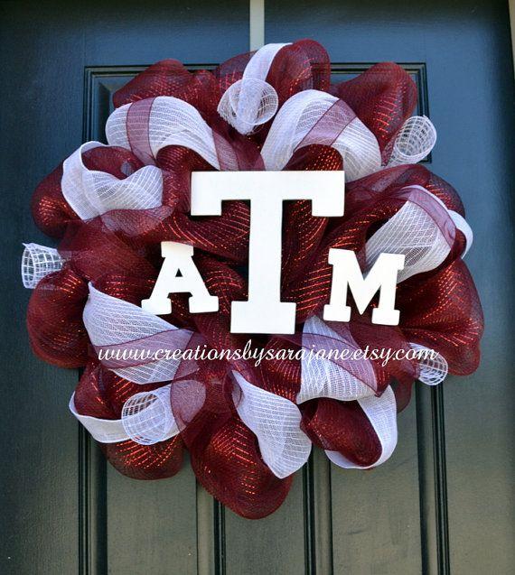 Texas A Aggie Mesh Wreath - Aggie Wreath