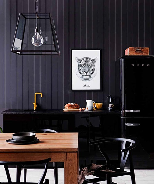 Dark and moody kitchen. Poster by RK Design.