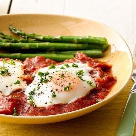 Eggs In Purgatory With Asparagus Recipe — Dishmaps