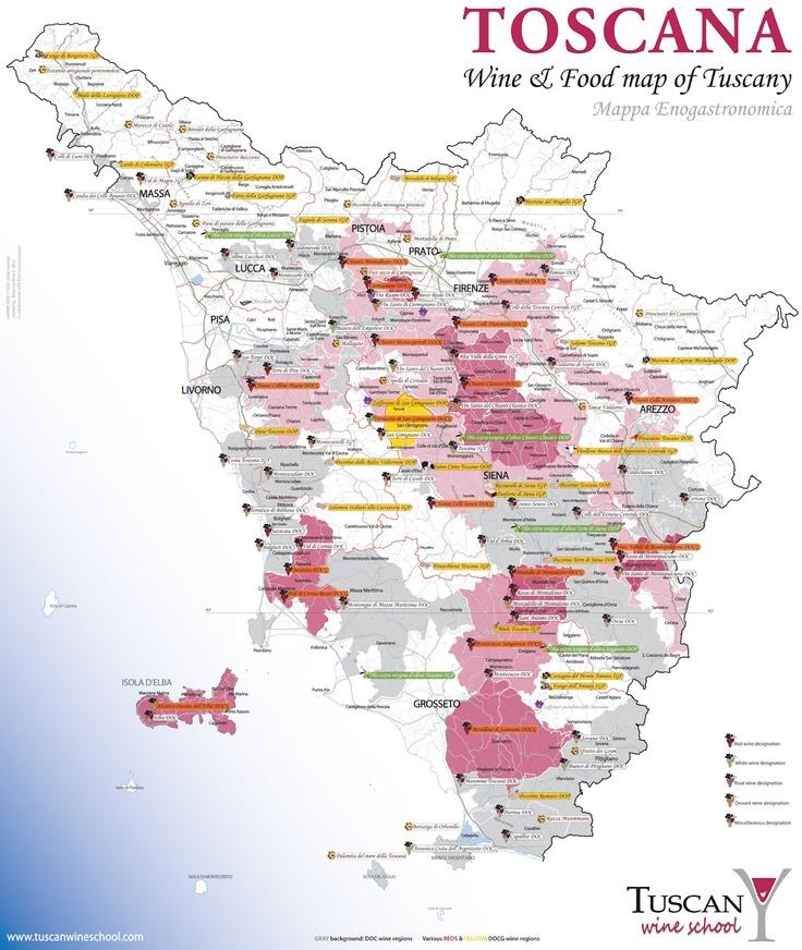 Wine Map Of Tuscany Italy