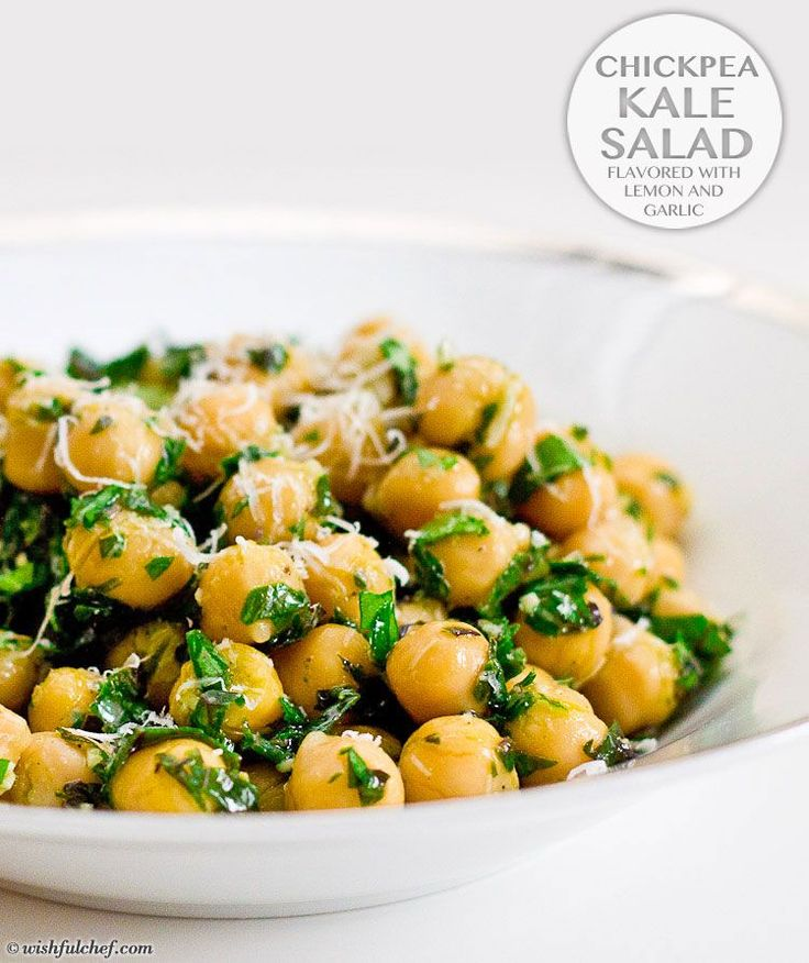 Chickpea Kale Salad Flavored with Lemon and Garlic