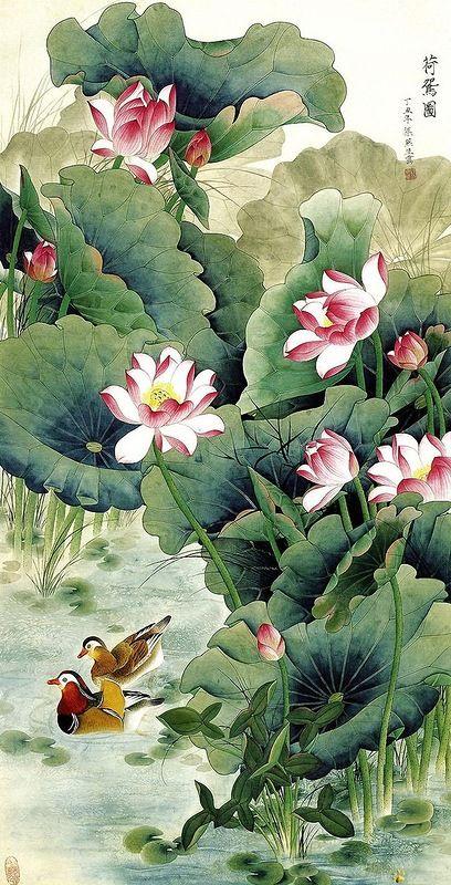 Китайская роспись пионы