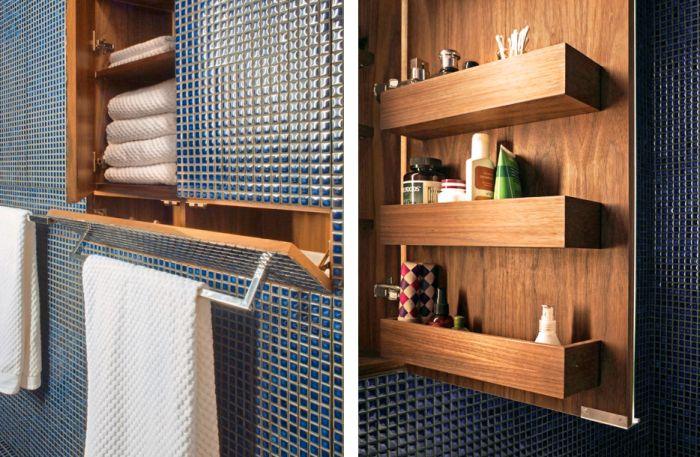 hidden bathroom storage in transformer apartment in