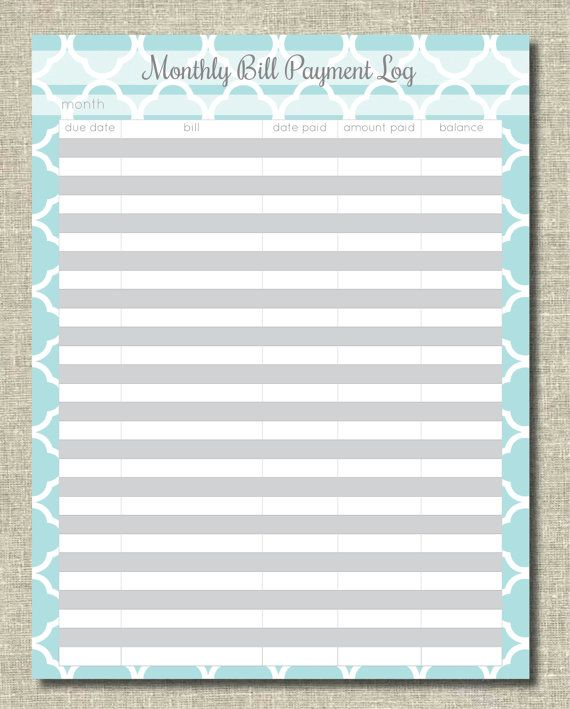 Monthly Bill Organizer | Home Binder Single Sheets | Pinterest