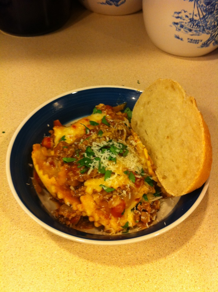 Baked cheese ravioli and meat sauce | FOOD = yum | Pinterest