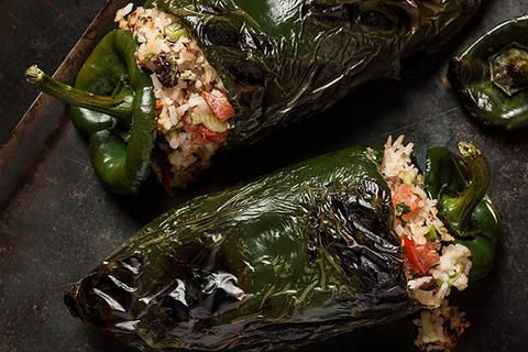 Stuffed Poblanos with Black Beans and Cheese Recipe