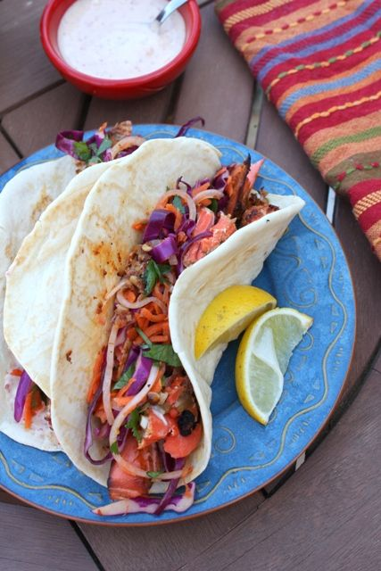 ... GRILLED BLACKENED SALMON FISH TACOS with ASIAN SLAW & LIME PAPRIKA