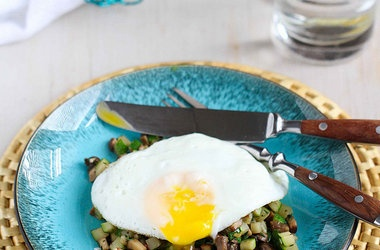 Quick Mushroom, Zucchini & Thyme Saute with Fried Egg — Punchfork