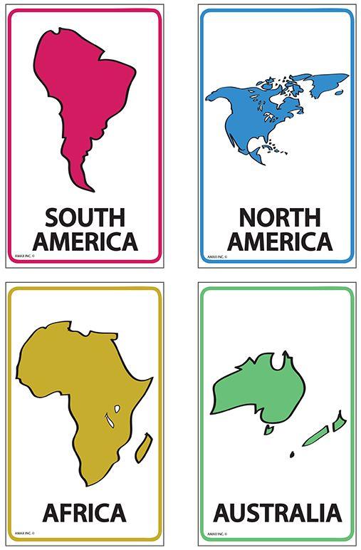 Continents Flash Cards : Social Studies : Pinterest
