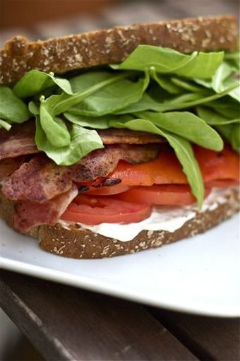 Bacon, Arugula, Roasted Red Pepper and Tomato Sandwich...all for about ...