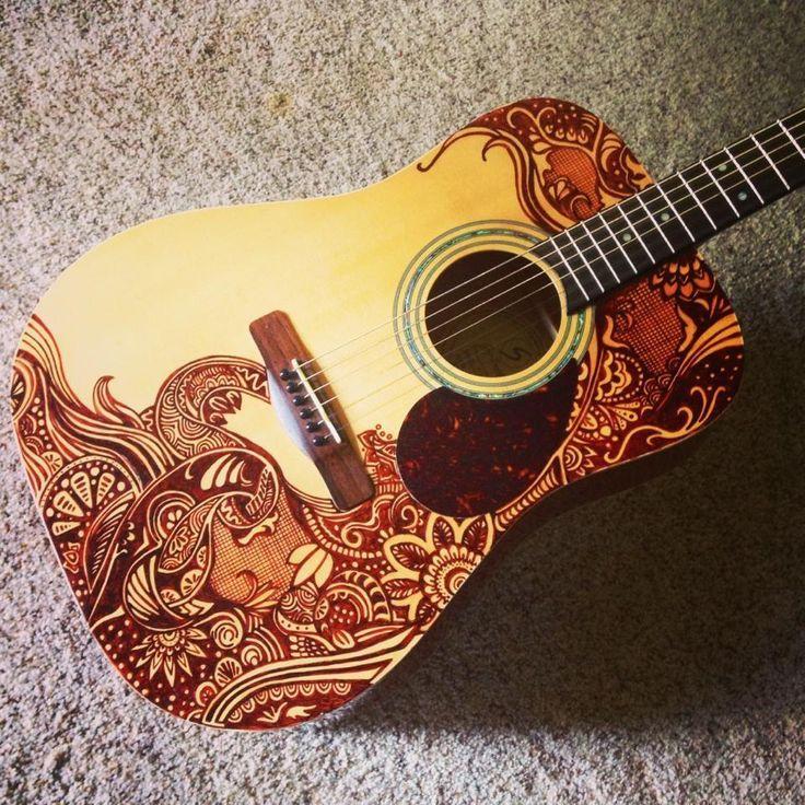 Guitar Designs Art : A well sharpied acoustic guitar art pinterest